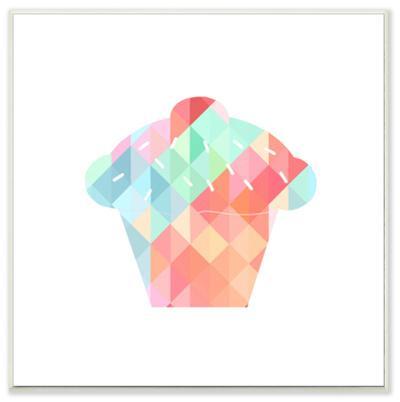 Graphic Rainbow Cupcake Wall Plaque Art