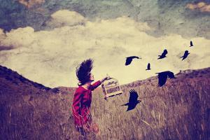 A Girl Walking in a Field with a Flock of Birds Done with a Vintage Retro Instagram Filter by graphicphoto