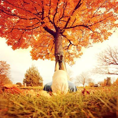 Feet Resting on a Tree Trunk during Fall When the Leaves are Turning Colors Toned with a Retro Vint by graphicphoto