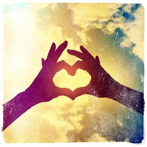 Two Hands Making a Heart Shape in the Sky by graphicphoto