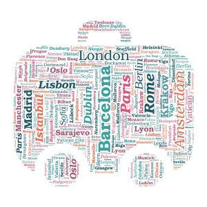 European Cities Bag Shaped Word Cloud On White Background - Tourism And Travel Concept by grasycho