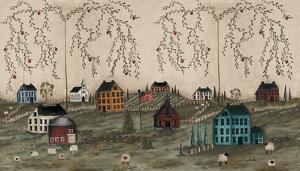 Grazing With Folk Art Salt Box Houses Huge Mural Art Print Poster