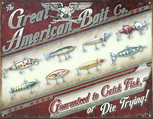 Great American Bait Co. Distressed Retro Vintage Tin Sign