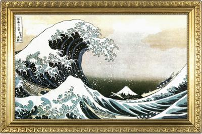 Great Wave off Kanagawa Hokusai Poster with Gilded Faux Frame Border
