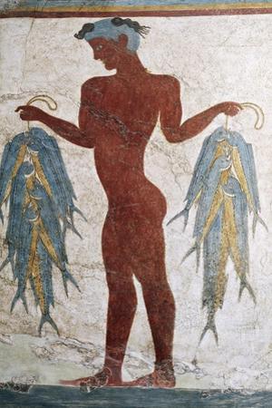 Greek Civilization Depicting Fisherman, from Akrotiri, Thera, Santorini, Greece