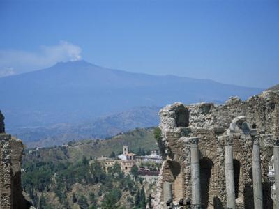 Greek Theatre and Mount Etna, Taormina, Sicily, Italy