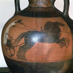 Greek Vase Depicting a Chariot, C5th-6th Century Bc