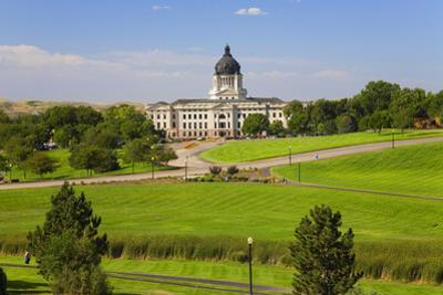 Green grass of park leading to South Dakota State Capitol and complex, Pierre, South Dakota