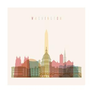 Washington DC Skyline Multicolor Poster in Editable Vector File. by Greens87