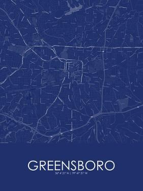 Greensboro, United States of America Blue Map