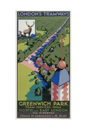Greenwich Park, London County Council (LC) Tramways Poster, 1932 by F Marsden Lea