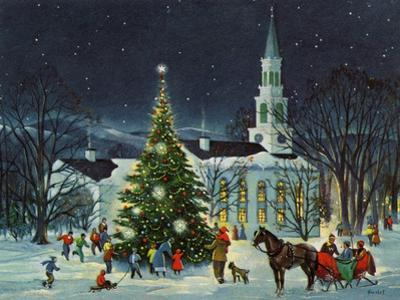 Greeting Card - White Church with Large Tree and People Surrounding