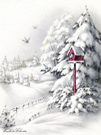 Greeting Card - Winter Scene with Red Birdhouse, National Museum of American History