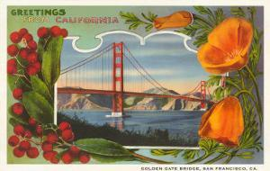 Greetings from California with Golden Gate Bridge and Poppies