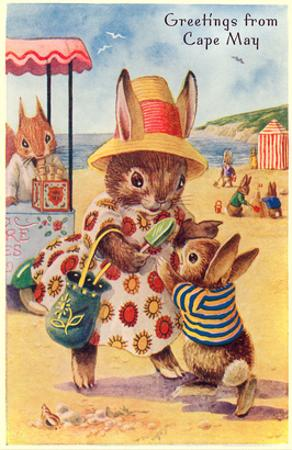 Greetings from Cape May, New Jersey, Bunnies on Beach