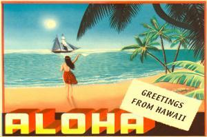 Greetings from Hawaii, Hula Girl on Beach