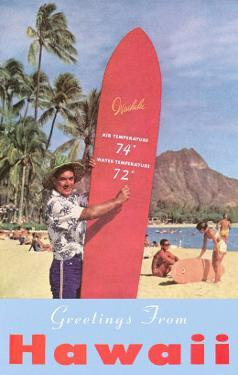 Greetings from Hawaii, Surfboard with Temperature