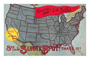 Greetings from La Jolla, California, US Map