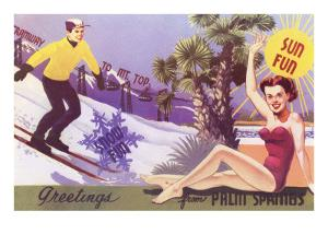 Greetings from Palm Springs, Skier and Swimmer