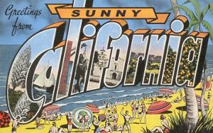 Greetings from Sunny California Beach Scene