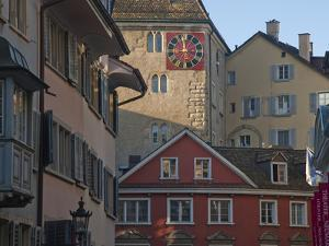 A Clock Tower and Buildings in Zurich's Old Town in the Morning by Greg Dale