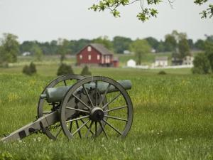 Lone Cannon Stands in a Field at Gettysburg Battlefield by Greg Dale