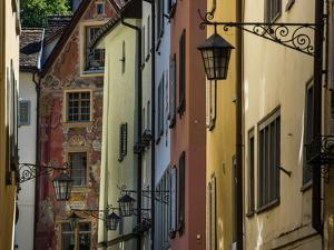 Street Lamps and Multi-colored Swiss Buildings in Chur by Greg Dale