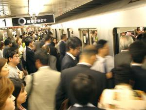 Commuters Boarding Train During 8Am Rush Hour at Ueno Station, Ginza Line, Tokyo, Japan by Greg Elms