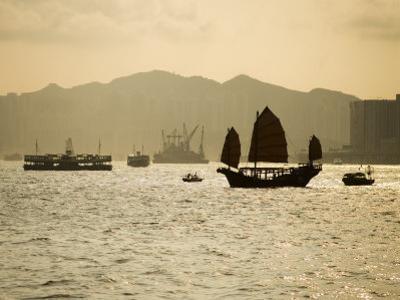 Duk Ling Junk Sailing on Hong Kong Harbour, Hong Kong, China by Greg Elms