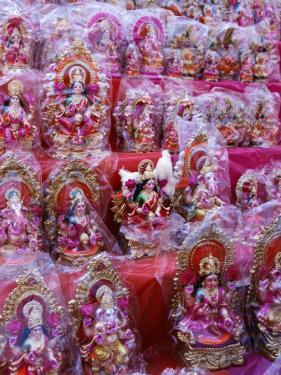 Figurines of Hindu Gods Ganesh and Laxshmi, Sold as Part of the Diwali Festival, Varanasi, India by Greg Elms