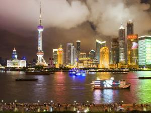 Pudong Skyline at Night, Seen from M on the Bund Restaurant by Greg Elms