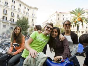 Teenagers Hanging Out in Piazza Vanvitelli, Vomero, Naples, Campania, Italy by Greg Elms