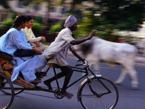 Young Women on Cycle Rickshaw, Lucknow, Uttar Pradesh, India by Greg Elms