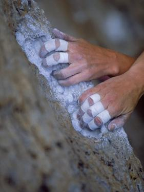 Close-up of Rock Climber's Hands, CA by Greg Epperson
