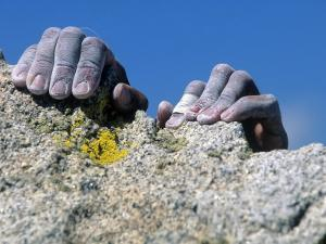 Hands Holding Onto Cliff, Djin Needle, CA by Greg Epperson