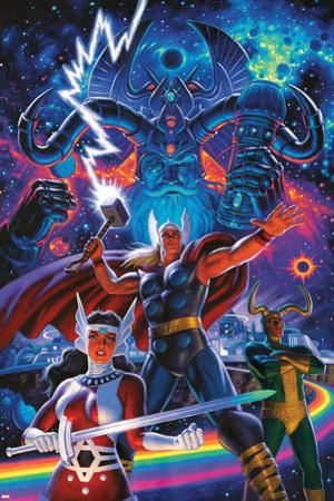 Mighty Thor No. 8 Cover Art Featuring: Odin, Thor, Sif, Loki by Greg Hildebrandt