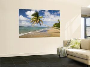 Coconut Grove Beach at Cades Bay, with St. Kitts on Horizon by Greg Johnston