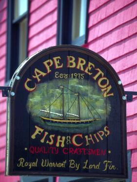 Fish and Chips Sign, Cape Breton, Sydney, Nova Scotia, Canada by Greg Johnston