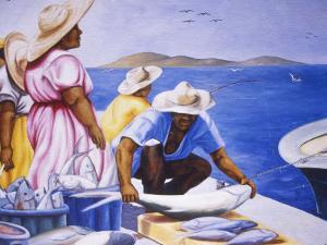 Mural at Public Market, Marigot, St. Martin, Caribbean by Greg Johnston