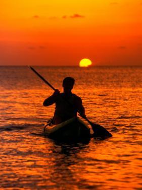 Sea Kayaking at Sunset, Bahama Out Islands, Bahamas by Greg Johnston