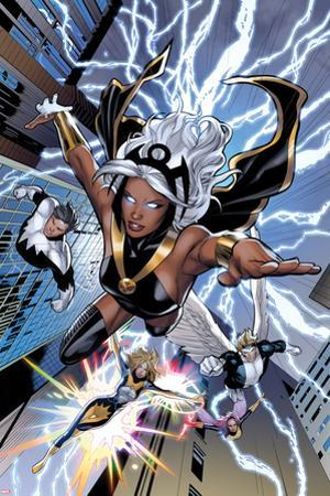 Uncanny X-Men No.531: Storm, Northstar, Angel, Dazzler, and Pixie Flying by Greg Land