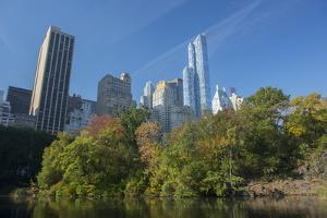 High-Rise Buildings Along from Inside Central Park on a Sunny Fall Day, New York by Greg Probst