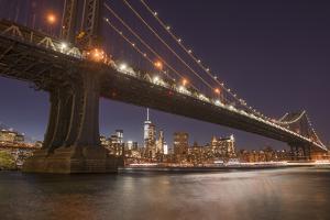 Manhattan Bridge and skyline, Brooklyn Bridge Park, New York City, New York by Greg Probst
