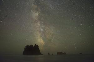 Milky Way rising behind sea stacks at 2nd Beach, Olympic National Park, Washington State by Greg Probst