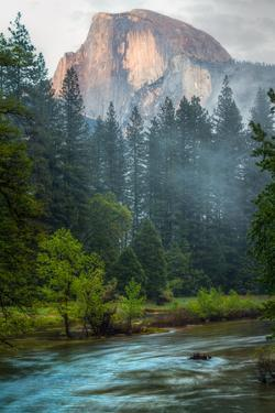 Half Dome and the Merced River at Sunset by Greg Winston