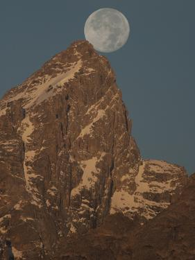 The Full Moon Above Grand Teton Mountain by Greg Winston