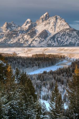 Winter Sunrise on the Teton Range and Snake River by Greg Winston