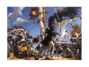 Confederate C.S.S. Alabama in Battle Against Union U.S.S. Kearsarge by Gregory Manchess