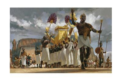 King Taharqa Leads His Queens Through a Crowd During a Festival