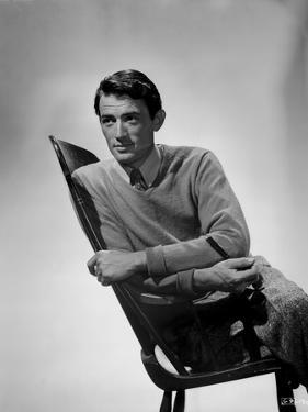 Gregory Peck Leaning on Chair wearing Long Sleeves by E Bachrach